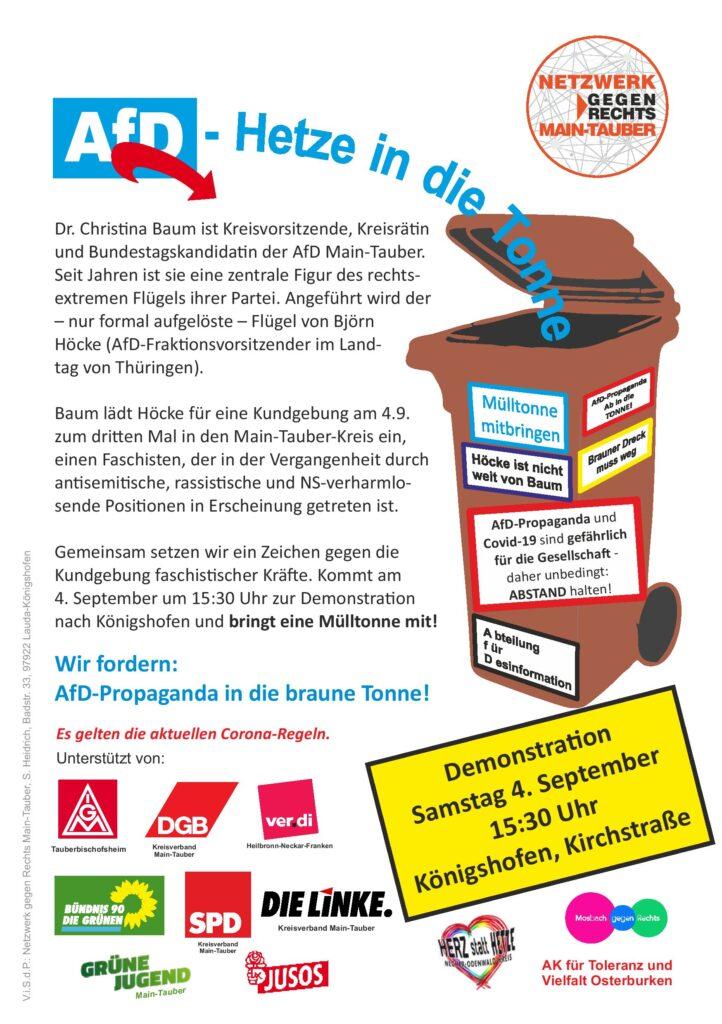 Demo gegen AfD, Höcke, Baum am 04.09.21 in Königshofen